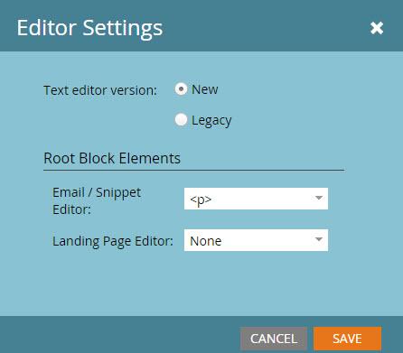 Marketo-root-editor-settings