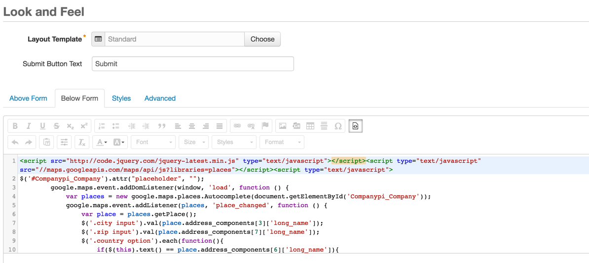 look-and-feel-pardot-form-code