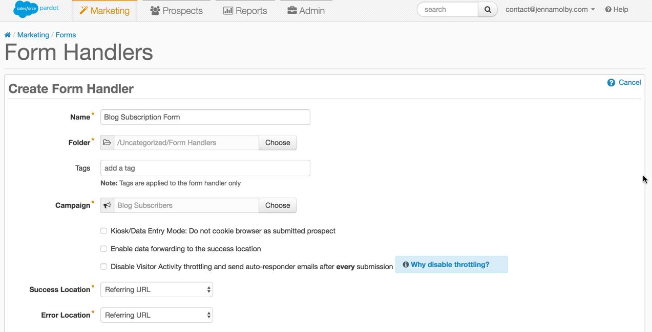 pardot-form-handler-setup-blog-subscription