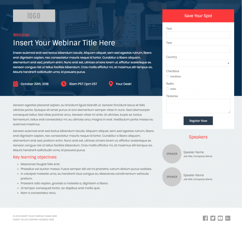 2 free pardot landing page templates for events